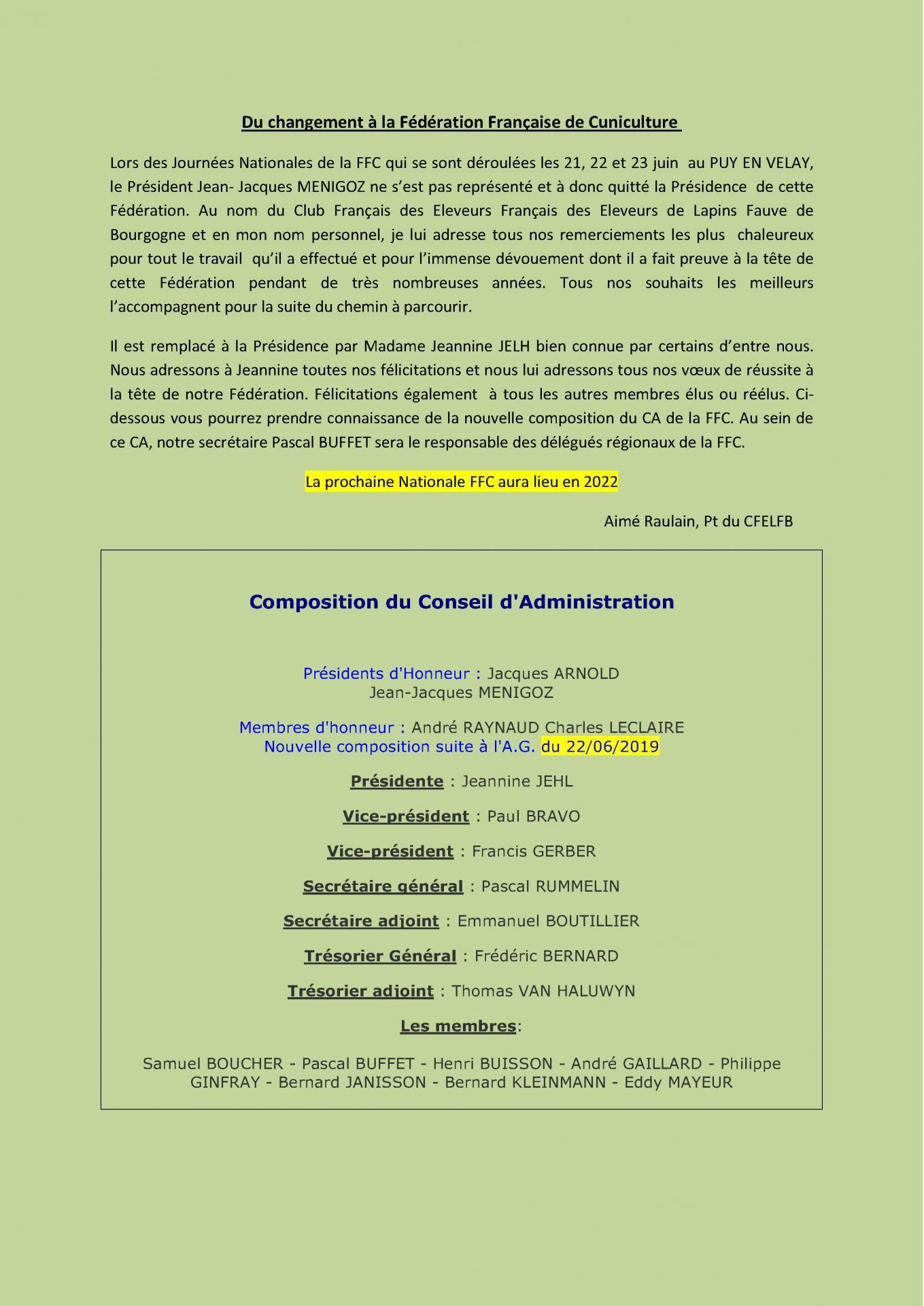 Information ffc