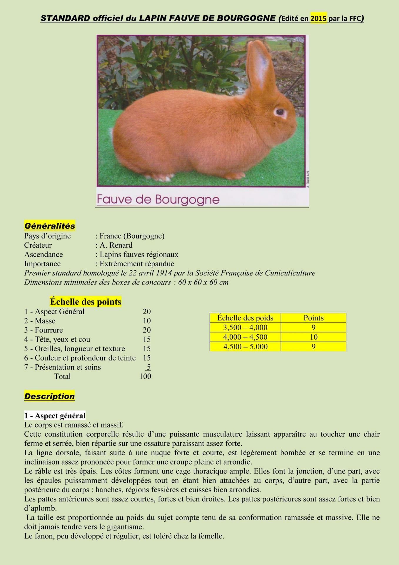 Standard officiel du lapin fauve de bourgogne edition 2015 1