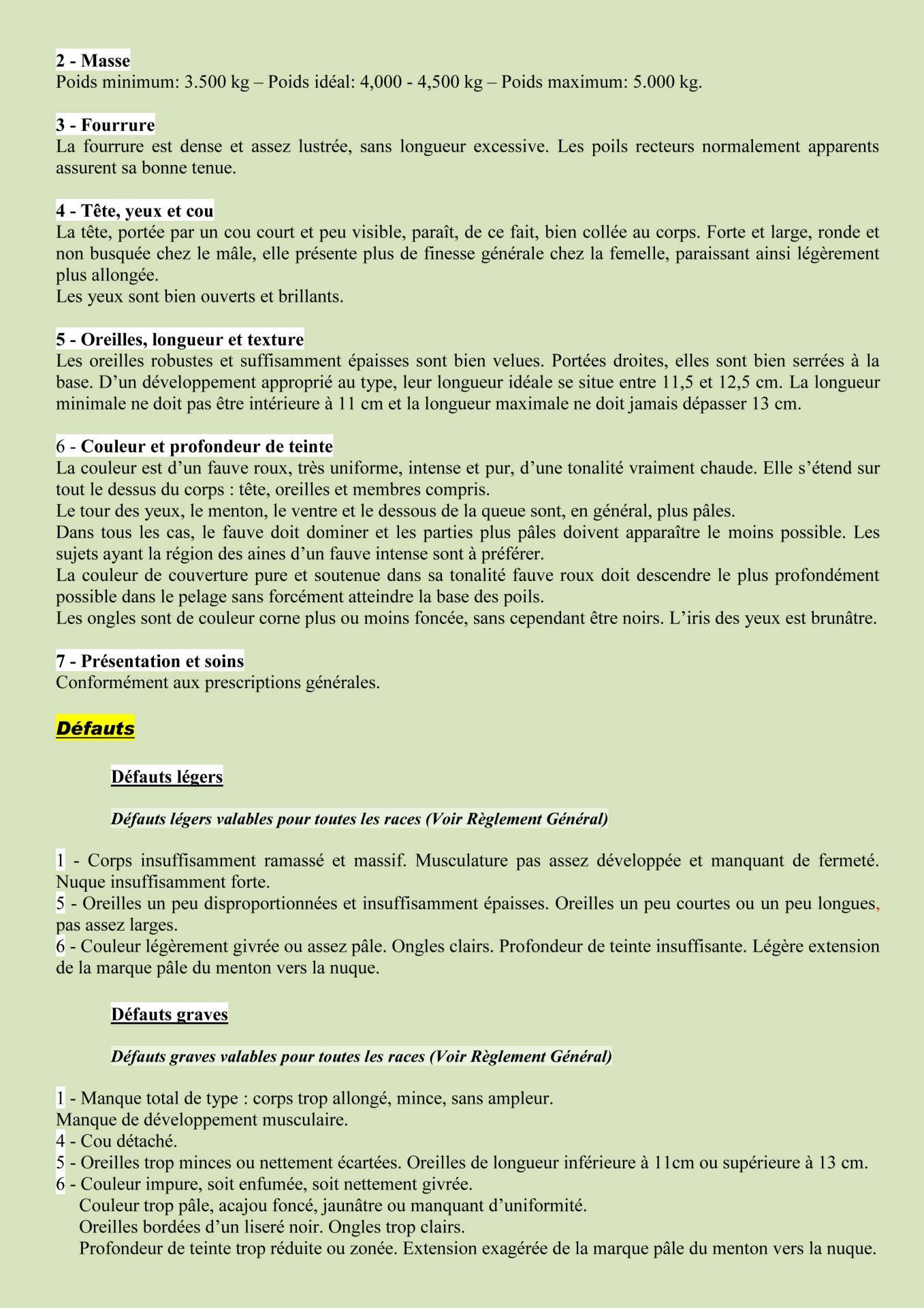 Standard officiel du lapin fauve de bourgogne edition 2015 2
